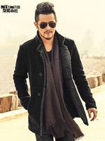 PU Leather Jacket Men Long Wool Leather Standing Collar Jackets Coat Men Leather Jackets With Fur Trench Parka F1066