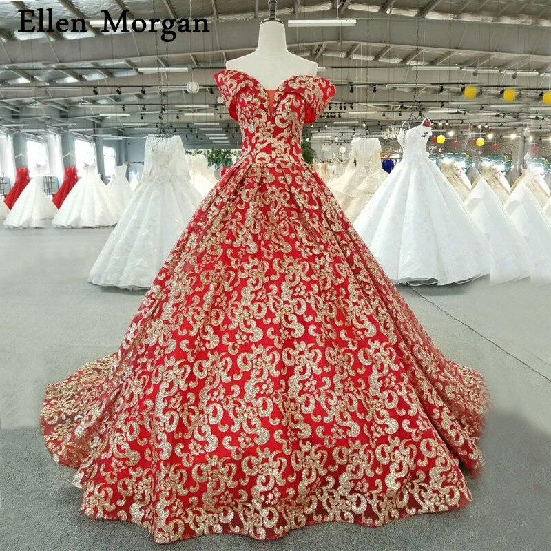 Glitter Wedding Gowns: Red Glitter Fabric Wedding Dresses For Women Wear Real