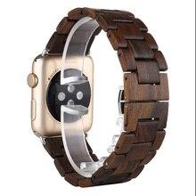 De Calidad superior 100% Correa 42mm Negro Marrón correa De Reloj De Madera De Madera Natural Para Apple iWatch Reloj Correa de Banda con adaptador