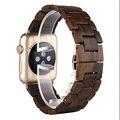 Top qualidade 100% de madeira natural pulseira 42mm preto marrom faixa de relógio de madeira para a apple iwatch cinta faixa de relógio com adaptador