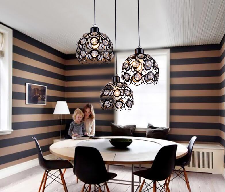 Moderne Pendentif En Cristal Lampes Design Blancnoir De Fer Lustre