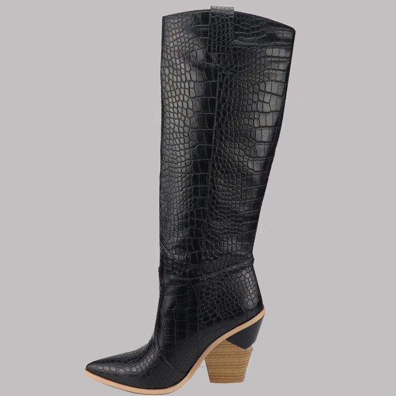 Size 33 46 2019 brand women s knee high boots thick high hels autumn winter boots