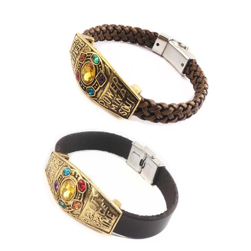 Handmade Marvel Avenger 3 Infinity War Thanos Bracelets Infinity Gauntlet  Stone Bangles 4083893c1327