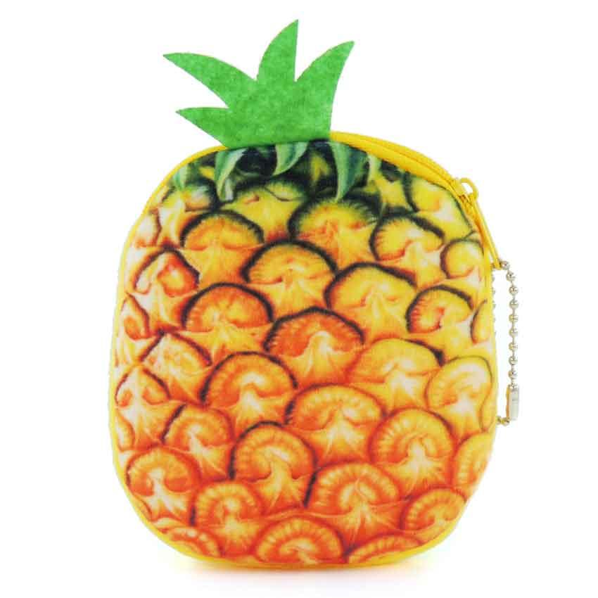 XYDYY Kawaii Women Coin Purses Creative 3D Pineapple Fruit Printing Change Purse Plush Zipper Girl Wallet Small Pouch Handbag