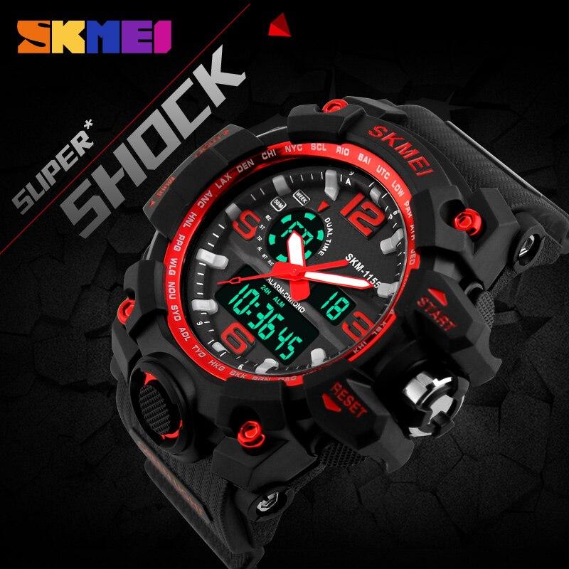 Skmei новый s шок Для мужчин спортивные часы большой циферблат цифровые кварцевые часы для Для мужчин Элитный бренд светодиодный военные Водонепроницаемый Для мужчин Наручные часы