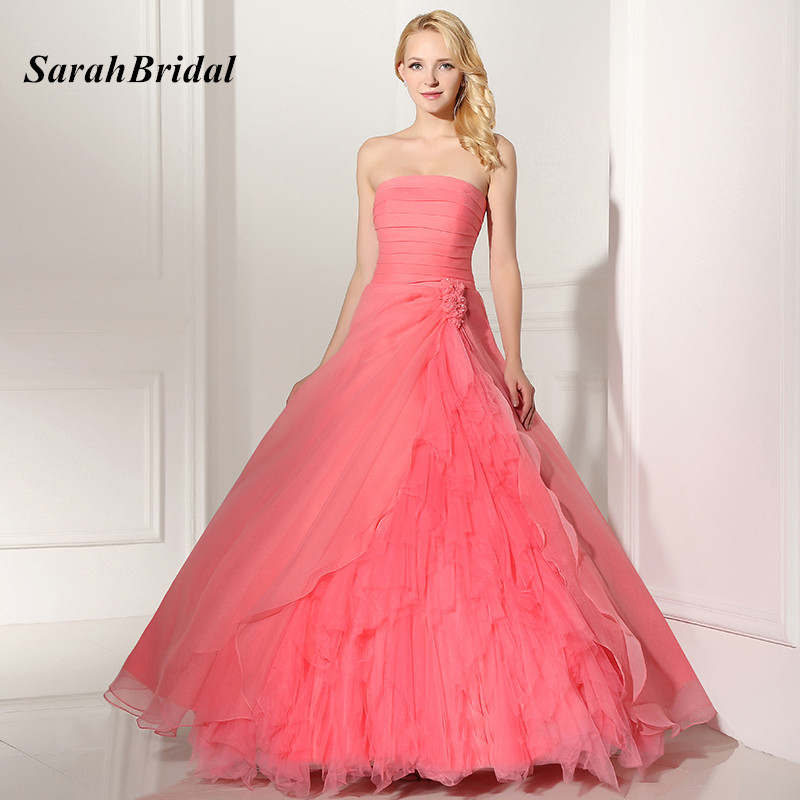 New Coral Sweet 16 Ball Gowns Quinceanera Dresses 2017 With Flower Chiffon Pleat Strapless Beauty Party Gown vestidos de 15 anos