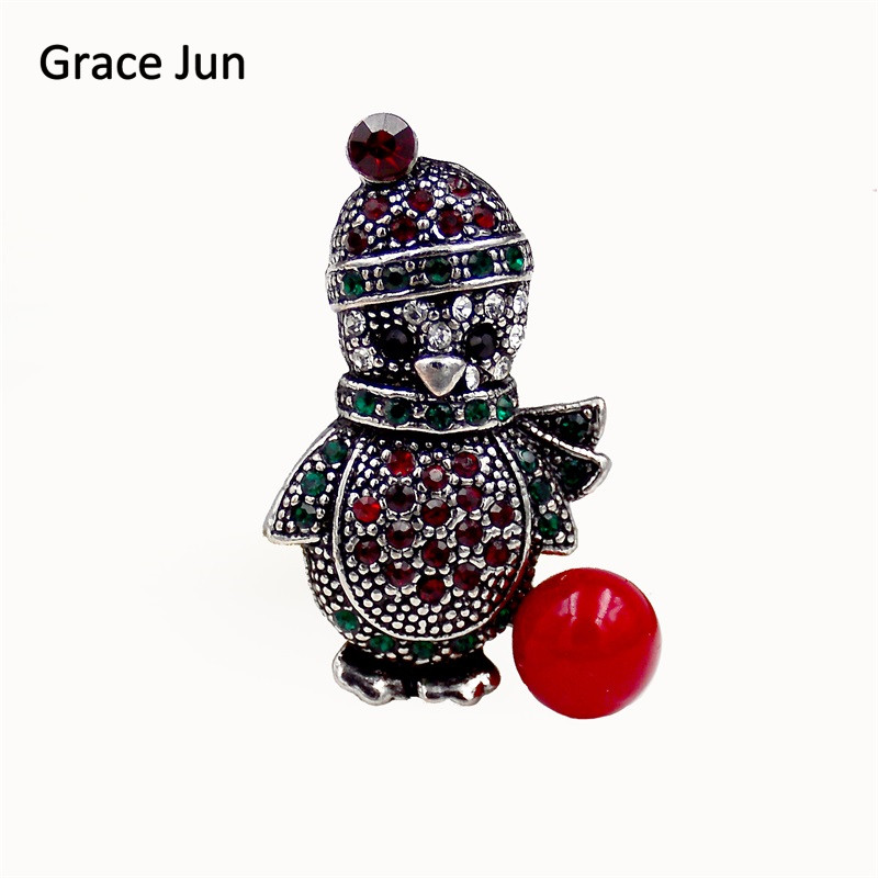 Grace Jun 2017 New Fashion Vintage Style Male and Female Penguins Brooches Pin for Christmas Festival Fine Jewelry Xmas Art DEC