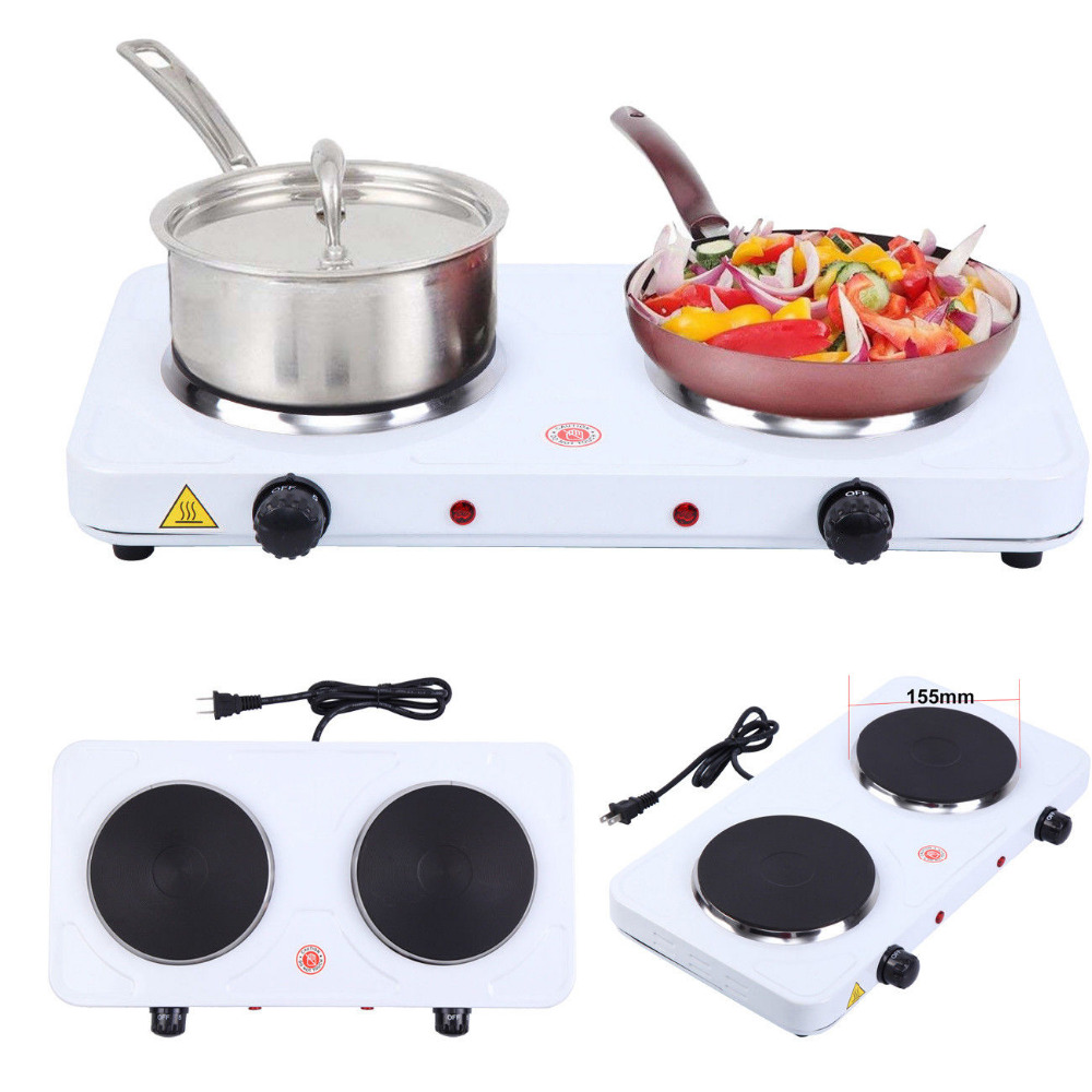 2000W Electric Double Burner Hot Plate Portable Heating Cooking Stove Kitchen Camping