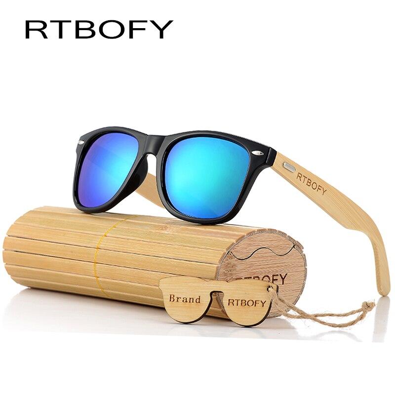 RTBOFY 2017 Retro Bambusholz Sonnenbrille Männer Frauen Markendesigner Brille Gold Spiegel UV400 Brillen