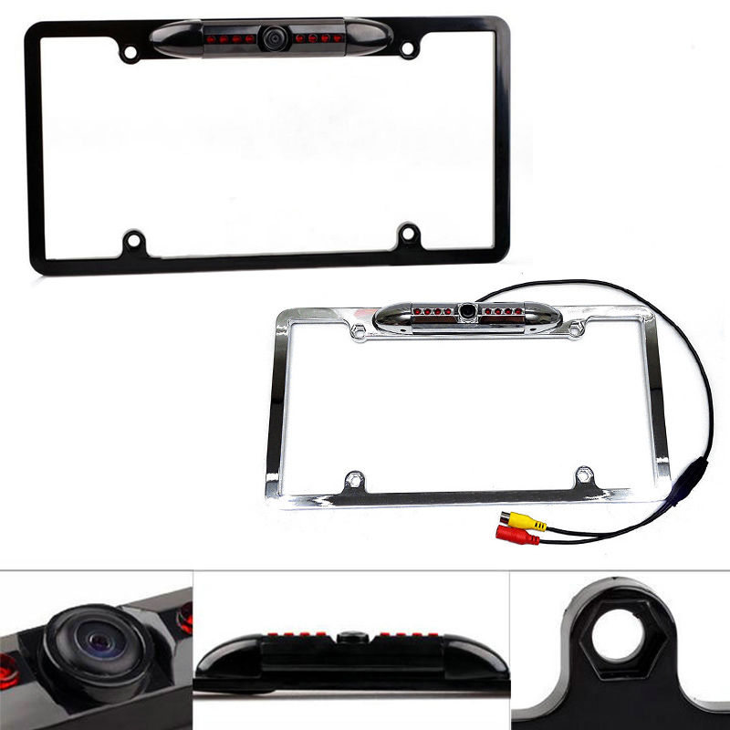 USA Car License Plate Frame Auto Reverse Rear View Backup Camera IR Night Vision with 8 LED CSL2017 new 170 degrees waterproof backup night vision car rear view reverse camera free shipping