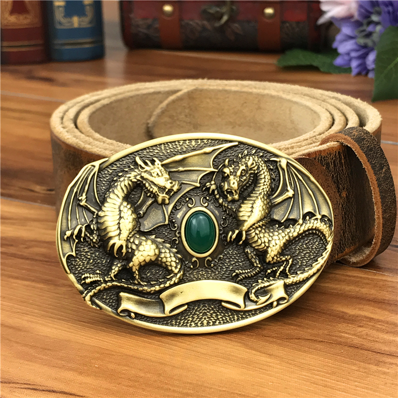 Brass Dragon Cowboy Belt Buckle Leather Belt Men Jeans Metal Waist Belt Leather Strap Man Ceinture Homme Wide MBT0077