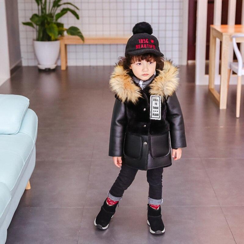 2018 Winter New Children pu leather jacket with Rabbit Fur Detachable Coat Kids boy Girls Warm black  fur Coat Outerwear 2-10Y