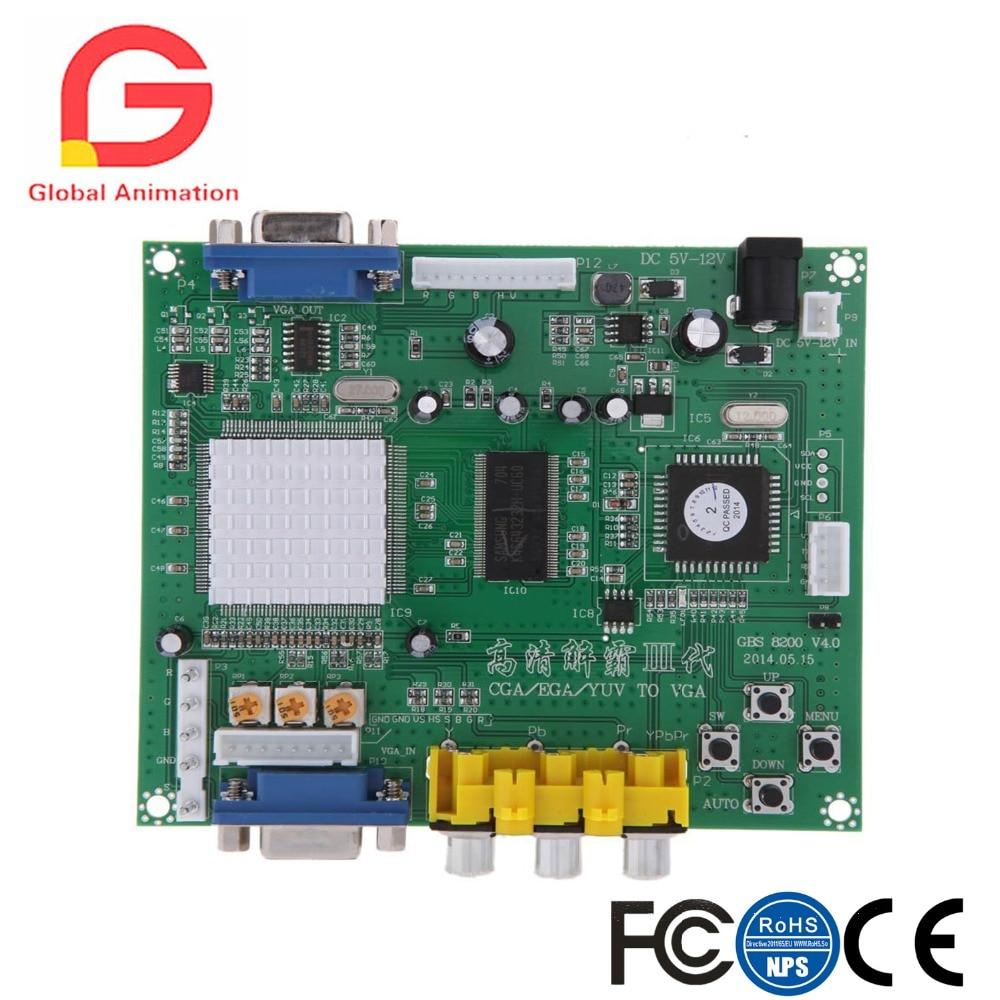 Véritable carte de Module de relais GBS8200 1 canal CGA/EGA/YUV/RGB vers VGA convertisseur vidéo de jeu d'arcade pour moniteur CRT/PDP/LCD