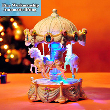 Big Creative Automatic Lifting Carousel Mini Music Box with Flashing Light Musical Boxes for Princess Love Girl Valentine's Day
