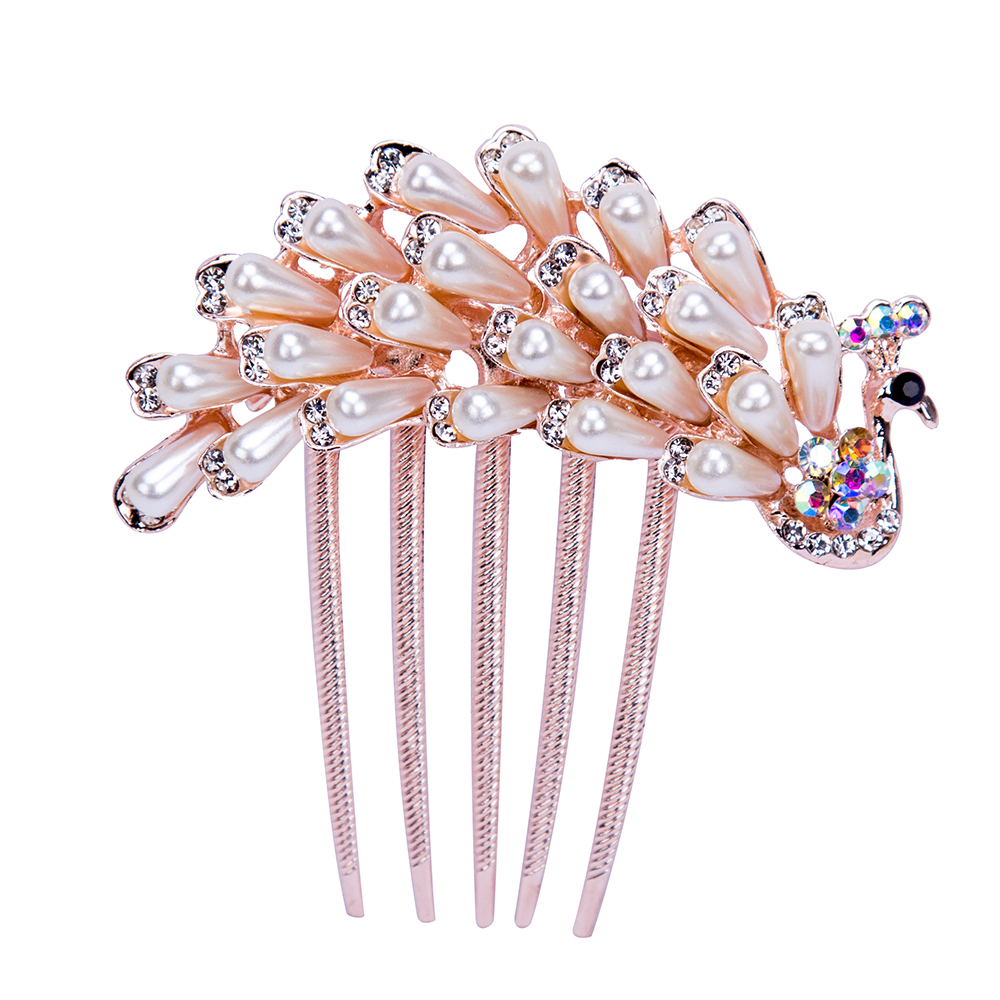 941e235a608b AWAYTR Elegant Peacock Rose Gold Pearls Hair Combs Rhinestones Flower  Wedding Crystal Hair Clips Bridal Hair Accessories-in Women s Hair  Accessories from ...