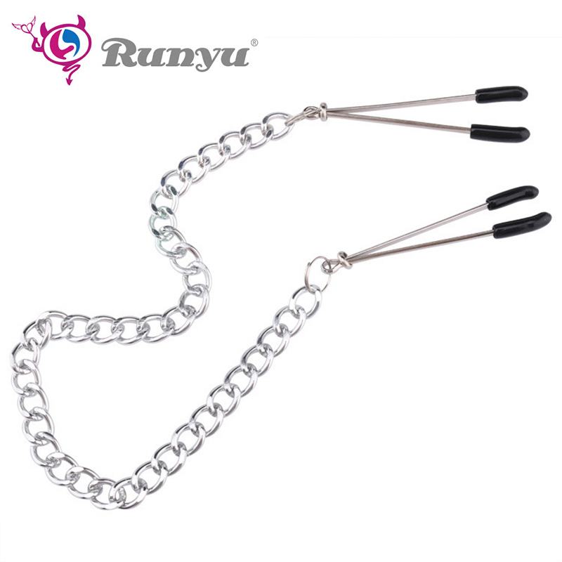 Runyu Nipple Clamps With Metal Chain Adjustable Breast Labia Clips Labium Clitoris Clamp Sex Toys For Couple BDSM Flirting Toys
