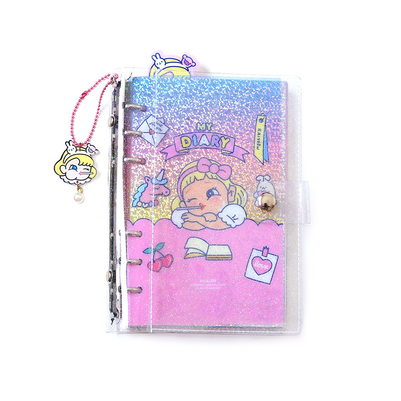 JUGAL New Transparent PVC Spiral Note Book Hand Account Girl Diary Book A6 Loose-leaf Book Planner School Office Supply