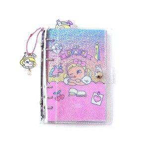 Image 5 - Juga nova nota de pvc transparente, espiral nota livro mão conta menina diário a6 folhas soltas livro planejador escolar escritório fonte de fornecimento