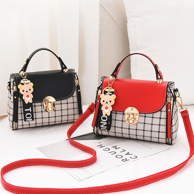 New Cute Type Ladies PU Handbag High Quality 2019 Hot Sale Small Girls Exquisite Color Matching Casual Fashion Small Square Bag 1
