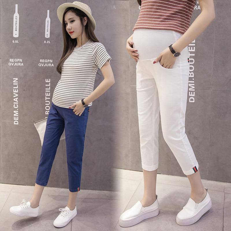 Cotton Maternity Pants Elastic Waist Belly Pencil Capris Clothes for Pregnant Women Thin Linen Pregnancy Clothing Summer Fashion