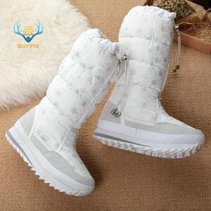 Image 4 - Botas de neve mulheres 2020 botas de inverno de alta pelúcia sapatos quentes mais tamanho 35 a grande 42 fácil usar menina branco zip sapatos femininos botas quentes