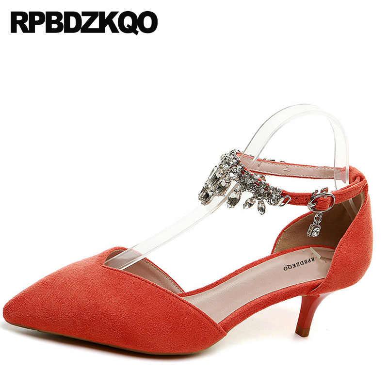 edc5af476b ... Kitten Women Orange Pointed Toe Pumps Low Heels Crystal Bridal Shoes 3  Inch Ankle Strap Suede ...