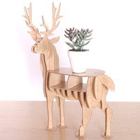 Christmas Gift DIY Modern 3D Wood Deer Desk Shelf Birthday Souvenirs Elk Home Office Ornament Decor Display Shelf C100