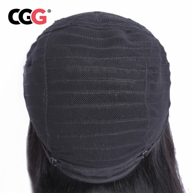 CGG Hair Wigs 4*4 Lace Closure Human Hair Wigs Mongolian Straight Hair Non-Remy Human Hair Natural Color 10-22 Inch adjustable