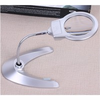 85mm Desk Metal Hose Illuminated Magnifying glass multi function with 2 LED fresnel lens Reading magnifier table lamp 2X 6X