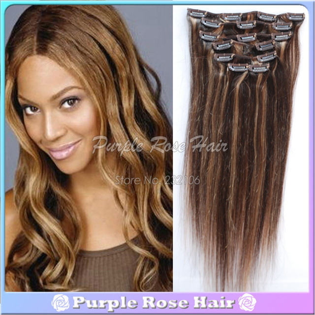 Mix Color 427 Good Cheap Brazilian Straight Hair Weave Clip In