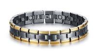 Hot sale titanium steel energy bracelet magnetic balance wristband ip golden plating power bangle