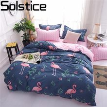 Solstice Cartoon Pink Flamingo Bedding Sets 3/4pcs Geometric Pattern Bed Linings Duvet Cover Bed Sheet Pillowcases Cover Set(China)