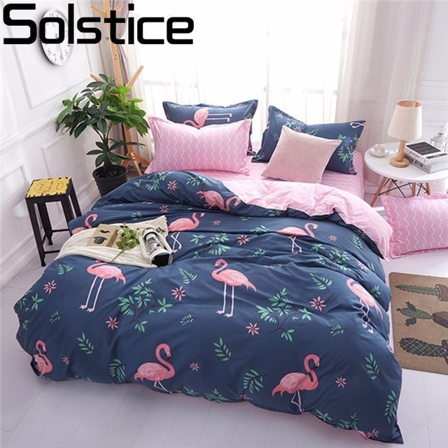 Solstice Phim Hoạt Hình Màu Hồng Flamingo Giường Có Bộ 3/4 cái Mô Hình Hình Học Giường Lót Duvet Cover Bed Sheet Gối Che bộ