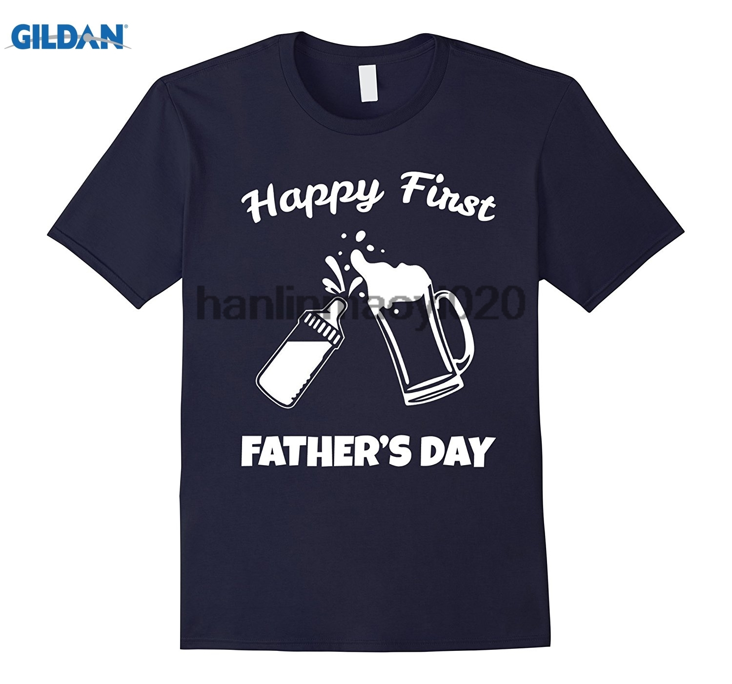 GILDAN Mens Fathers Day Gifts Happy First Fathers Day T-Shirt