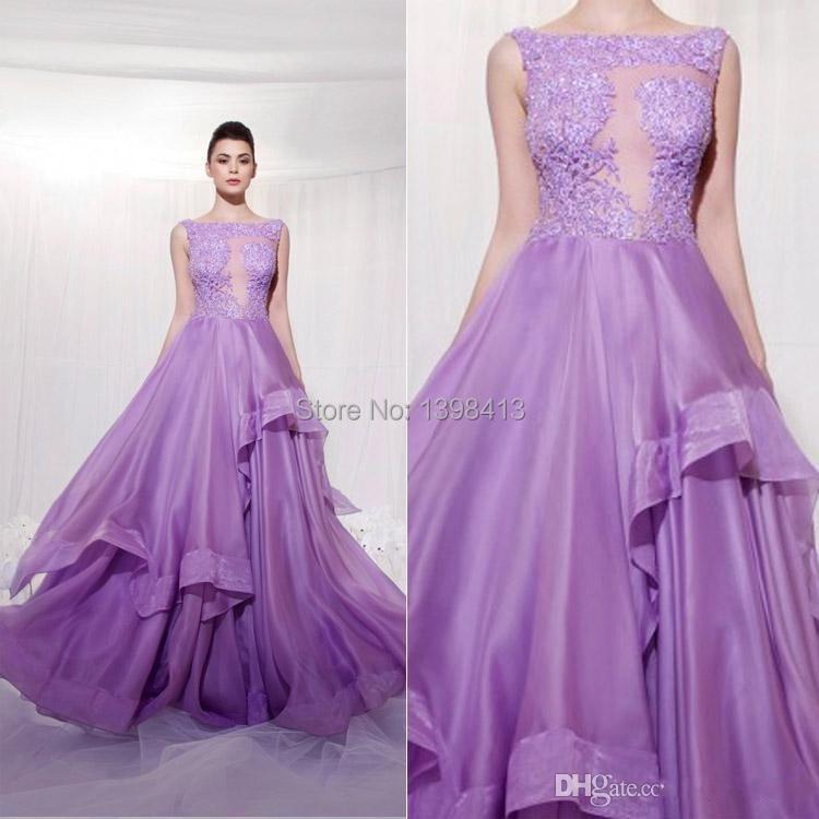 Online Shop Fashion A line Purple Wedding Dresses Lace Appliques ...