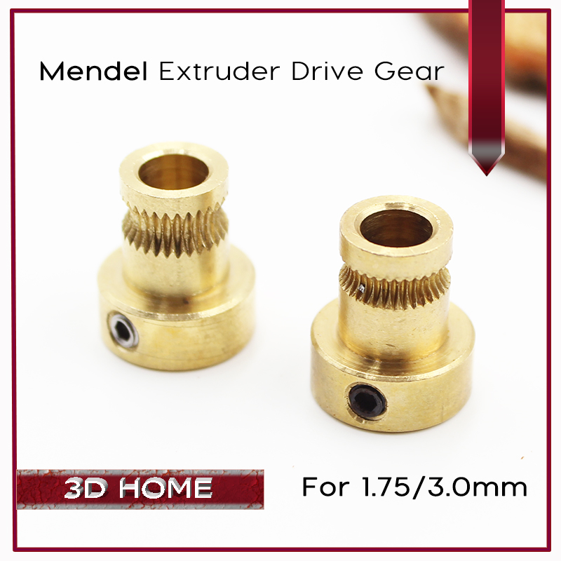 1Pcs Reprap Mendel Extruder Drive Gear For 1.75mm 3mm Brass Bore 5mm 3d Printer Feeding Hobbed Wheel Squeeze Feed Wheel die steel feeding extrusion wheel for 3d printer black