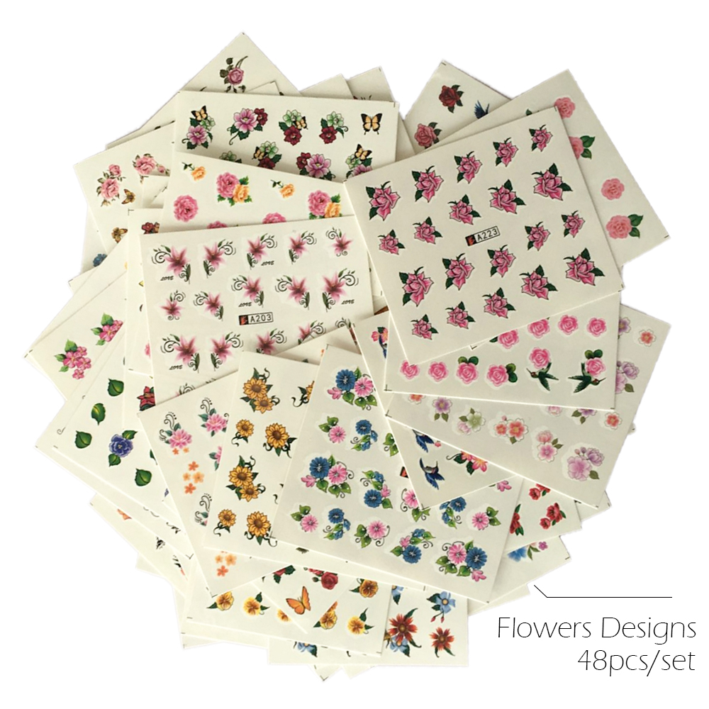 48pcs/lot Water Transfer Nail Sticker Flowers Full Cover Butterfly Mixed Color Designs Tips Nail Art Wrap Slider Set SAA193-240 4 packs lot full cover white french smile lace tattoos sticker water decal nail art d363 366w