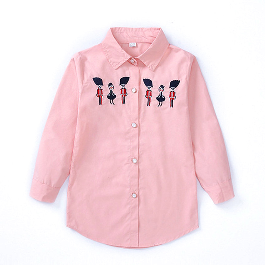 4-12 y children shirt girl long sleeve girls blouses spring long tops kids clothes for girls 12 years old fashion embroidery