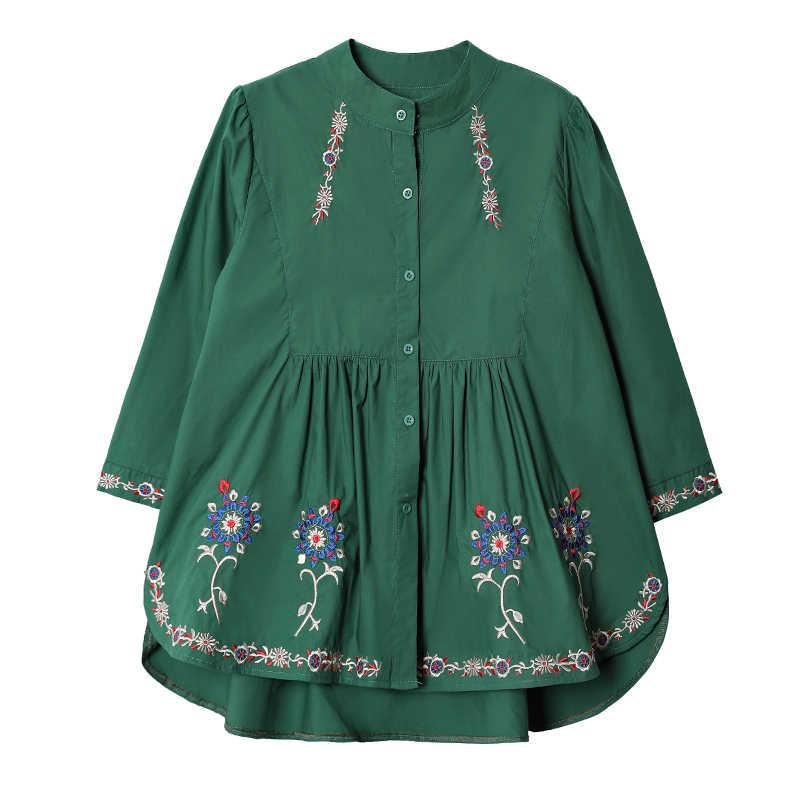 ファッション2018新しい春夏大きいサイズの女性のブラウス緩いだった薄い国家風3/4スリーブ刺繍シャツ女性a287