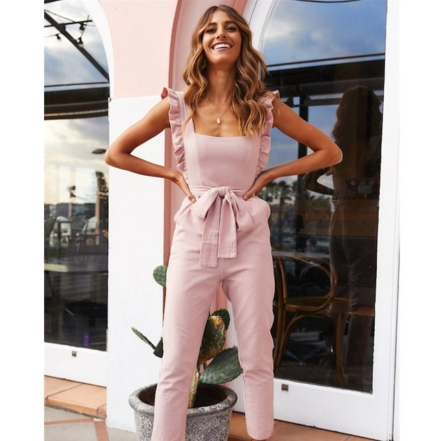 Summer Women StrapRuffles Romper Solid Ladies Backless Playsuit Casual Long Pants Jumpsuit