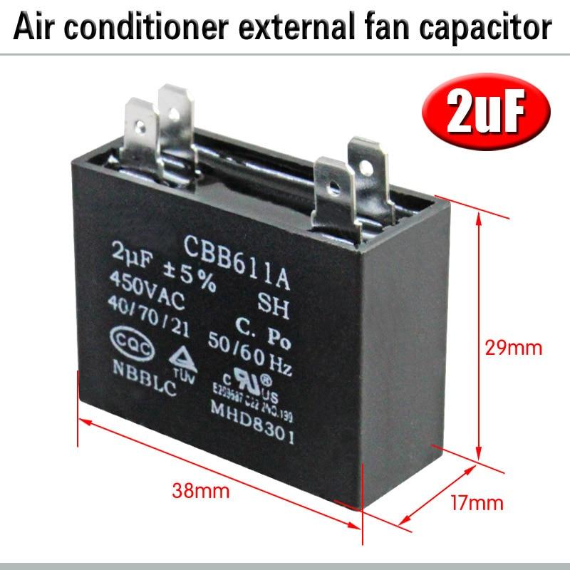 CBB61 кондиционер наружный вентилятор стартовый конденсатор с алюминиевой крышкой, 1,5/2/2,5/3/3,5/4/5/6/8 мкФ 450 вольтным и конденсатор с алюминиевой крышкой 4 вставки электромагнитный пускатель - Цвет: 2uF