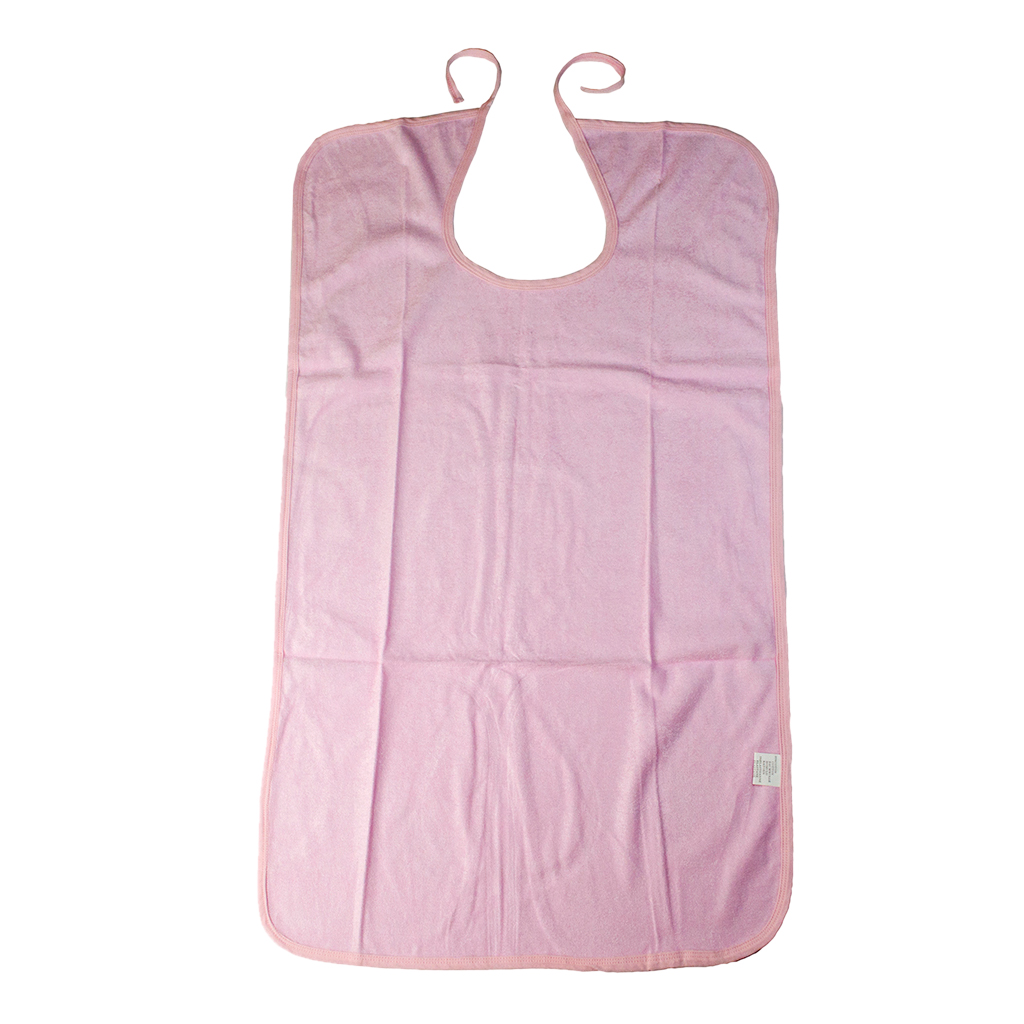 Waterproof Washable Adult Disability Bib Mealtime Cloth Protector Apron Pink