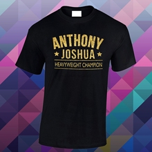 9b365b73 Mens Anthony Joshua Heavy Weight Champ Glitter Gold Vinyl Loose Fitted T  Shirt(China)
