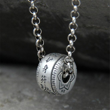 2018 Men Women Charm Pendant 100% Real 990 Sterling Silver Jewelry Classic Lucky Rotatable Amulet Necklace Gift