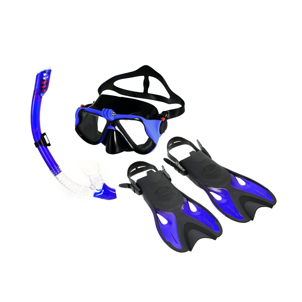 New Swim Fins Snorkeling Combo Set Anti Fog Goggles Mask Snorkel Tube Fins Diving Diving Flippers