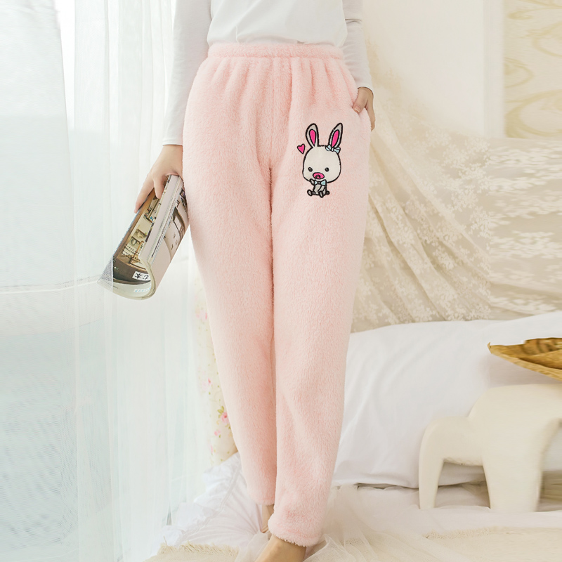 Autumn and winter female thicken fleece sleep pants plus size home casual cartoon patch lounge pants 1