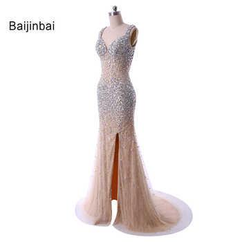 Baijinbai Long Evening Dresses Vestido de festa New Fashion Sweetheart High Slit Sheer Crystal Beaded Open Front Formal Dress - DISCOUNT ITEM  28% OFF Weddings & Events