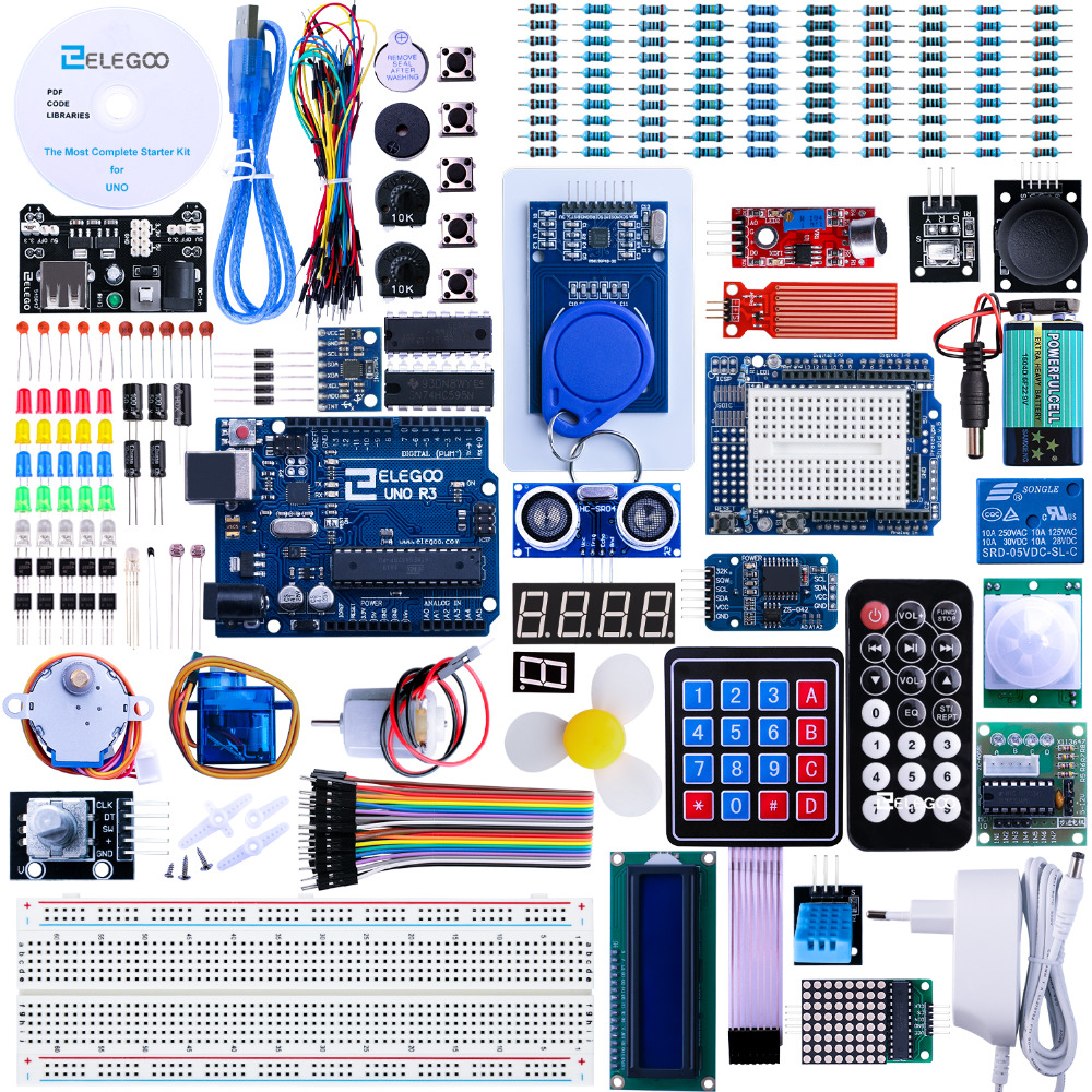 Elegoo Kit Arduino Starter Kit Arduino UNO R3 Project Complete Starter Kit with Tutorial for Arduino (63 Items) EL-KIT-001 doit uno starter kit for smart car chassis with arduino uno r3 board l298n motor drive shield tracking module dupont line