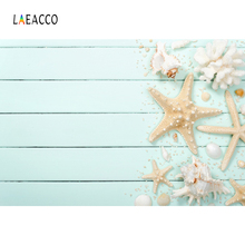 Tropical Summer Shell Starfish Coral Gray Planks Wooden Board Pet Portrait Photography Backdrops Photo Background Studio