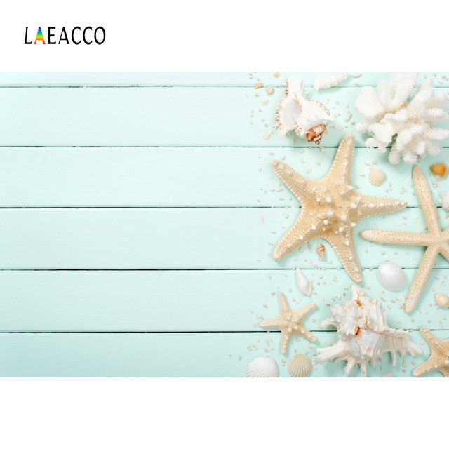 Tropical Summer Shell Starfish Coral Gray Planks Wooden Board Pet Portrait Photography Backdrops Photo Background Photo Studio